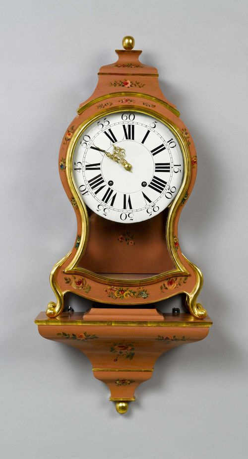 "PAINTED CLOCK ON PLINTH,Louis XVI, Neuchâtel, the movement signed LES FRÈRES DU COMMUN DIT VÉRON À LA CHAUX-DE-FONDS. Curved case, painted with flowers on a pink ground. Enamel dial ""en cuvette"". Movement with verge escapement striking the 1/2-hour on bell. H 84 cm. Case, strongly altered. Plinth, later."