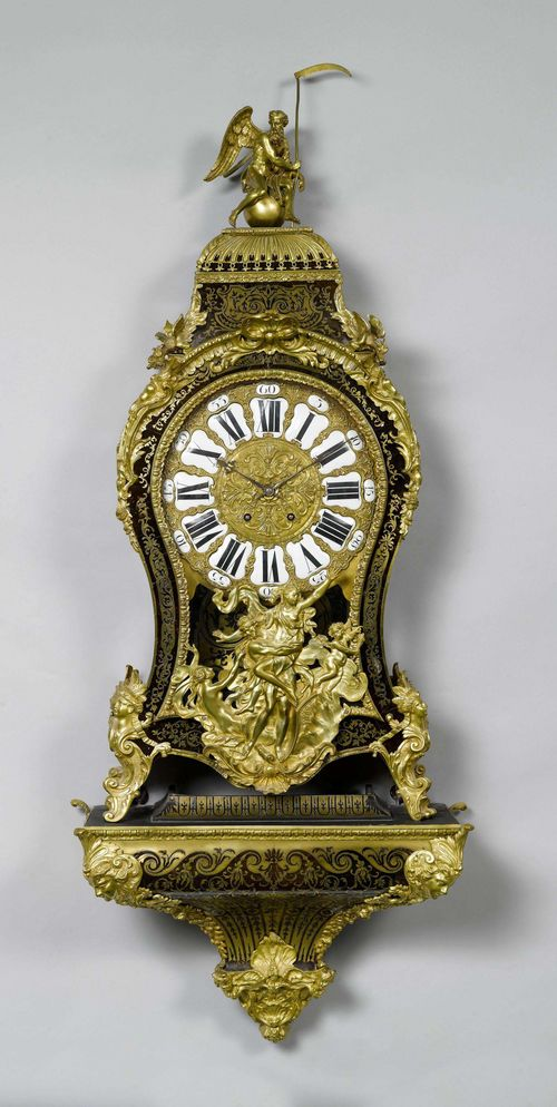 LARGE BOULLE CLOCK ON PLINTH,Napoleon III, in the Regence style, Paris, 19th century. Curved, wooden case, decorated with brown tortoiseshell and Boulle marquetry. Opulent bronze mounts designed as rocailles, female busts, winged angel heads, dragons and a mythological scene. The top with a figure of Chronos. Bronze dial with white enamel cartouches. Movement with anchor escapement striking the 1/2-hour on bell. H 168 cm. Movement requires revision.
