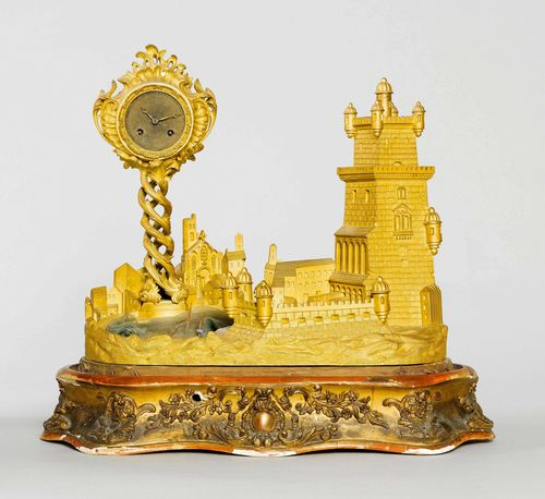 TABLE CLOCK WITH AUTOMATON,France, middle of the 19th century. Bronze. Designed as a harbour with a fortress and a boat rocking in the waves. Movement striking the 1/2-hour on bell. H including wooden plinth 49 cm. Glass dome, missing.