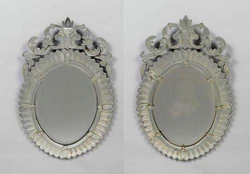 paar ovale spiegel barock stil murano 20 jh. Black Bedroom Furniture Sets. Home Design Ideas