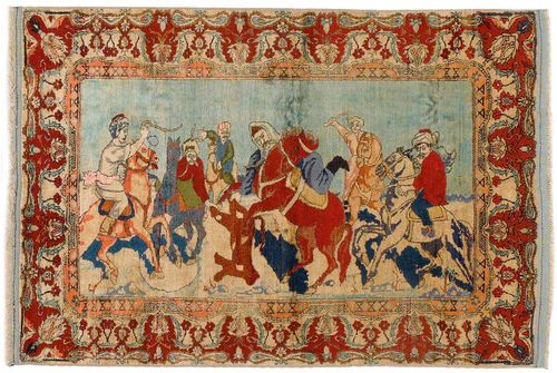 ANATOLIAN SILK antique.Pictorial carpet with a hunting motif in harmonious colours, red, beige border, good condition, 170x115 cm.