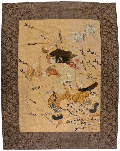 JAPANESE EMBROIDERY antique.Beige central field with samurai in battle, dark border with gold coloured flowers, good condition, 220x175 cm.