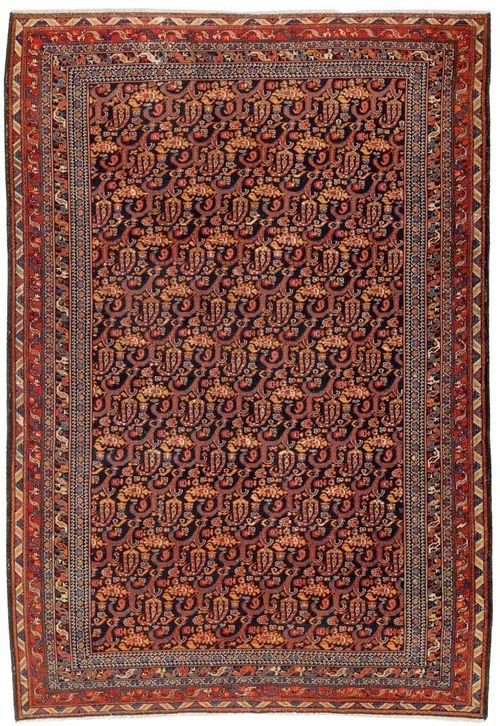 MALAYER antique.Dark blue central field, finely patterned throughout with floral and boteh motifs in delicate shades of pink, quintuple stepped border, good condition, 180x120 cm.