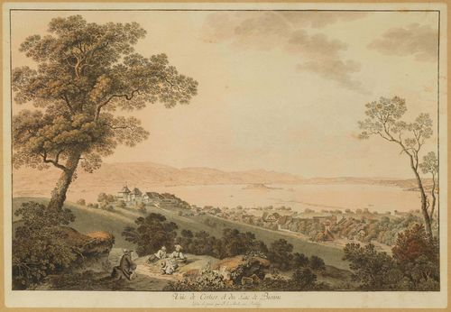 CANTON OF BERN.-Johann Ludwig Aberli (1723-1786). Vue de Cerlier et du Lac de Bienne Outline etching with original colour, 32.5 x 49 cm. With black pen outer line. Gold frame. – With text band and with margin on three sides around the outer line.