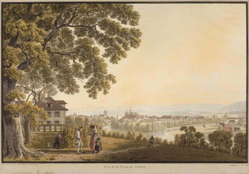 ZURICH.-Johann Jakob Biedermann (1763-1830). Vue de la ville de Zurich. Outline etching with original colour, 39 x 59 cm. Black pen outer line. The lower text band somewhat cut. Slightly creased and with minor browning. The lower margin somewhat foxed.