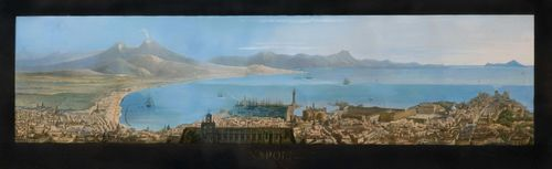 ITALY - NAPLES.-Anonymous, 19th century. Panorama of Naples. Outline etching with original colour, 34.5 x 99 cm (image). With broad margins gouached in black. Titled in gold letters in the centre below the image: Napoli. Old gold frame.