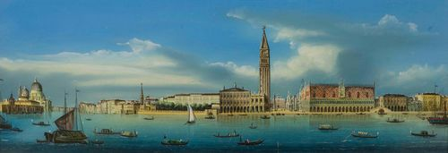 ITALY - VENICE.-Anonymous, circa 1850/60. View of Venice with St Mark's Square. Outline etching with watercolour, heightened with white. 18 x 51 cm (image). Framed. – With professionally restored tear in centre of the picture. Otherwise in good condition with fresh colours.