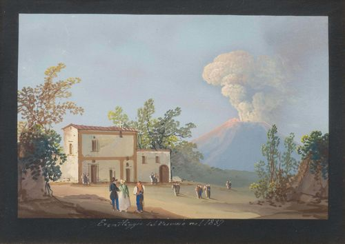 ITALY - VESUVIUS.-Lot of two views: 1. Nave del 1841  2.Eremitaggio del Vesuvio nel 1839. Gouaches, each ca. 10.5 x 15.5 cm. With black gouached margins. Each titled and dated below the image in white pen. Gold frames. Both in good condition.