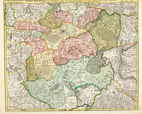 RUSSIA  - UKRAINE.-Lot of 4 maps: 1. Seutter Matthaeus, Augsburg, 1730. Imperii Moscovitici pars Australis in lucem edita... Copper engraved map with original colour, 50 x 58 cm. Strong colour, the upper margin trimmed to the plate edge. Minor traces of handling. Overall very fine and fresh condition. 2. G. de l' Isle bei Peter Schenk. Russie Moscovite, Tartarie Moscovite, Ukraine, pays des Cosaques. Copper engraved map with original colour. 48.5 x 60 cm. – Strong colour, with small margin on three sides, the right hand margin trimmed partly as far as the plate edge. Overall in fine and fresh condition. 3. Matthias Seutter, Augsburg circa 1730. Nova Mappa Geographica Maris Assoviensis Vel De Zabache Et Paludis Maeotidis accurate aeri incis et in luce edita... Copper engraved map with original colour, 49.5 x 58 cm. – Strong colour, margin on three sides, the top with fine margin along the plate edge. The margins slightly browned and with light traces of handling. Overall in fresh and fine condition. 4. Matthias Seutter, Augsburg, circa 1730. Mappa Imperii Moscovitici pars Septentrionalis adornata per Guilliemum de L'Isle. Copper engraved map with original colour, 50 x 58 cm. – Strong colour with small, in places fine margin around the plate edge. Very fine condition.