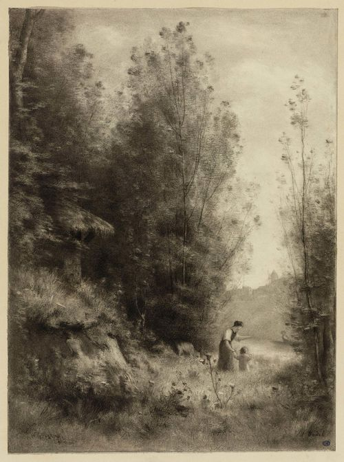 BADEL, JULES-LOUIS (Longirod 1840 - 1869 Geneva).Landscape of trees with woman and child by a watercourse. Black chalk. 34.8 x 25.6 cm. Signed lower right: J. Badel.