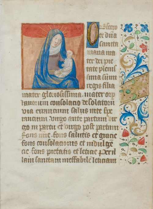 "BOOK ILLUMINATION.-Page from a book of hours, circa 1500 with the Virgin Mary and the Infant Jesus. Gouache, heightened with gold on vellum 15.7 x 11.3 cm. With a 17-line text in Latin recto and verso and with an illuminated initial ""O"". The right hand margin with floral border. Verso Latin text with further small initials. Framed."