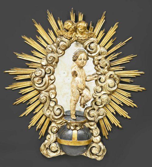 Grosser gefasster sonnenspiegel mit jesuskind barock und sp for Sonnenspiegel silber