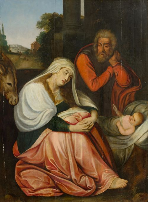 ANTWERP, 17TH CENTURY The Holy Family. Oil on panel. 98.5 x 71 cm.