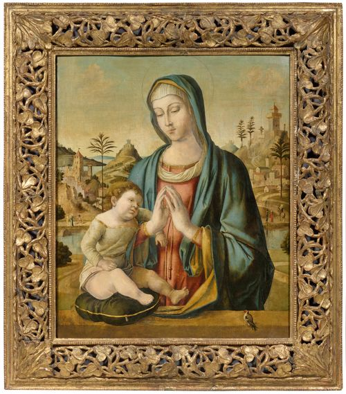 Workshop of BELLINI, GIOVANNI (1430/35 Venice 1516) Madonna and Child. Oil on panel. 79.5 x 66 cm.