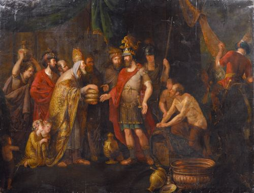 BESCHEY, BALTHASAR (before 1708 Antwerp 1776) Four scenes from the life of Abraham (Genesis 12-22) Oil on canvas. 225 x 174 cm / 226 x 168 cm / 224 x 167 cm / 323 x 225 cm. Provenance: - formerly in the artist's apartment, 'De Rozenhoed' in Antwerp, 1776. - Belgian private collection. - Swiss private collection. Registered at RKD, The Hague, as by Balthasar Beschey