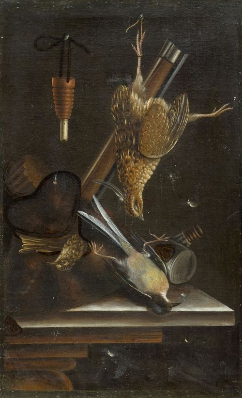 BILTIUS, CORNELIS (The Hague 1653 – circa 1706 Germany) Trompe-l'oeils with musket and three birds. Oil on canvas. 52 x 33 cm. Provenance: European  private collection. Fred G. Meijer of RKD, The Hague, has confirmed the authenticity of this work on the basis of a photograph