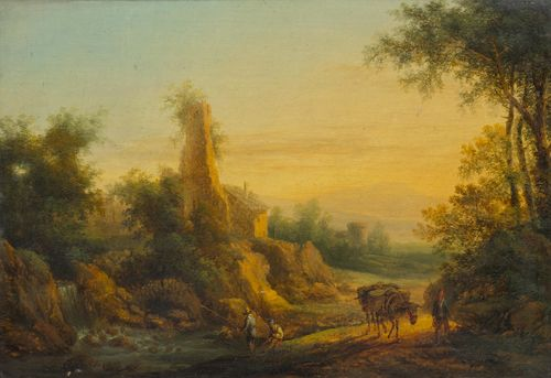 Attributed to BRAND, CHRISTIAN HILFGOTT (Frankfurt an der Oder 1694 - 1756 Vienna) Pair of works: Southern river landscape with figures. Oil on panel. 24 x 33 cm / 23.2 x 33.6 cm. Our thanks to Dr. Sylvia Schuster for her help in cataloguing this painting