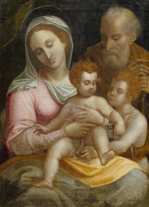 School of CAMBIASO, LUCA (Monéglia 1527 - 1585 San Lorenzo de El Escorial) Holy Family with John the Baptist. Oil on canvas. 87 x 63 cm. Provenance: European  private collection.