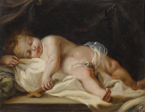 Circle of CHIARI, GIUSEPPE BARTOLOMEO (1654 Rome 1727) Sleeping putto. Oil on copper. 13.3 x 16.5 cm.