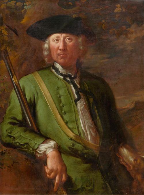 GERMAN SCHOOL, 18TH CENTURY Portrait of a hunter. Oil on canvas. 97.8 x 73.7 cm.
