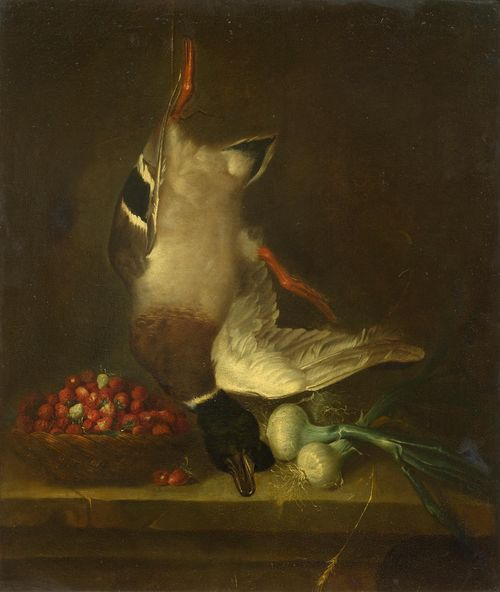 GERMAN SCHOOL, 18TH CENTURY Hunting still life with strawberries, duck and onions. Oil on canvas. 73 x 59.5 cm.