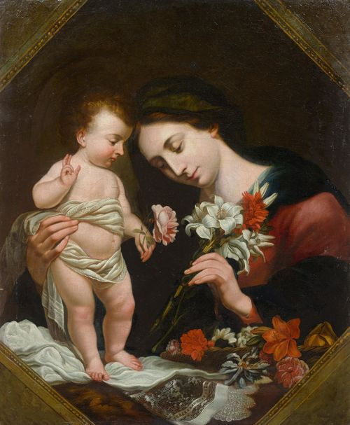 Circle of DOLCI, CARLO (1616 Florence 1686) Madonna and Child. Oil on canvas. 94.5 x 76.5 cm.