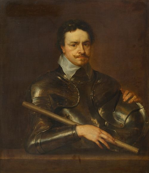 Workshop of DYCK, ANTHONIS VAN (Antwerp 1599 - 1641 London) Portrait of Thomas Wentworth, Earl of Strafford. 1637. Oil on canvas. Barely legibly inscribed and dated upper left: Thomas Wentworth Comes Snafordue Pronx Hybernix 1637. 104.5 x 86.5 cm. Provenance: - Galerie Fischer, Lucerne, June  1957, Lot 2572. - Swiss private collection.