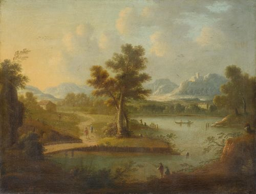 ENGLAND, CIRCA 1700 River landscape with figures. Oil on canvas. 72.5 x 92.5 cm.