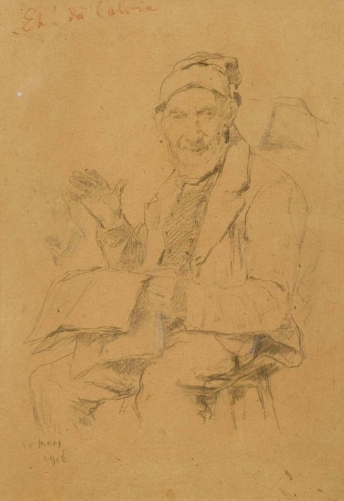 ANKER, ALBERT (1831 Ins 1910).Sitzender älterer Mann, die Zeitung lesend (Old man seated, reading a newspaper). 1906. Black chalk on brown paper. 38.7 x 26.6 cm (image). Inscribed upper left in red chalk: Eh! da Calvia. Dated lower left: 10 mars. 1906. Framed. 38.7 x 26.6 cm (image). Framed.