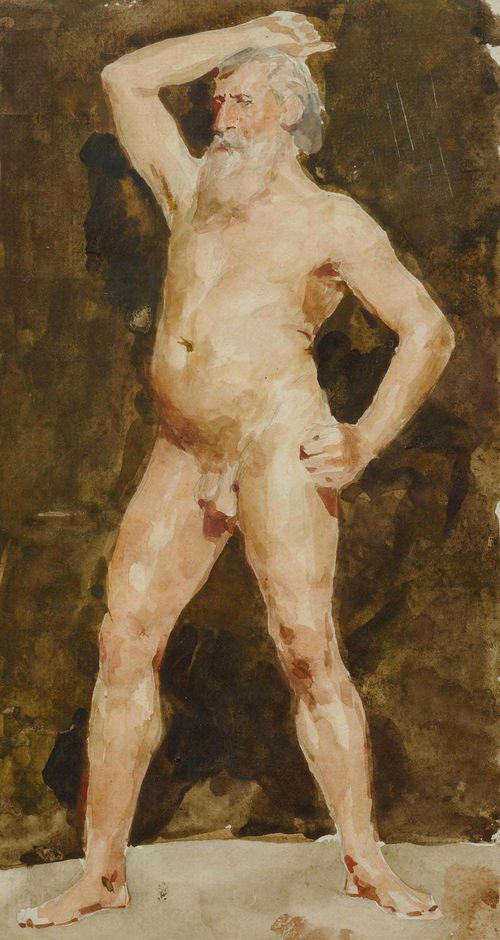 ANKER, ALBERT (1831 Ins 1910).Stehender Männerakt (Standing male nude). Watercolour over pencil on paper. 30 x 16 cm. Framed. 30 x 16 cm. Framed. Verso on old backing a hand-written confirmation of authenticity by Elisabeth Oser, Basel Oct. 1963.