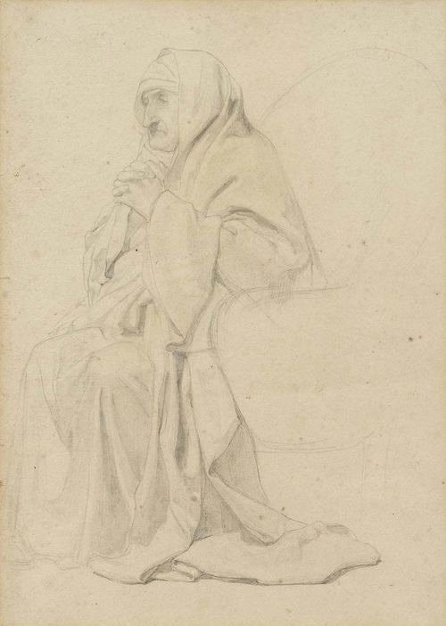 ANKER, ALBERT (1831 Ins 1910).Betende ältere Frau (Old woman praying). Verso: Four studies of garments. Pencil on paper. 26.9 x 20.8 cm (image). Framed. With hand-written confirmation of authenticity by Elisabeth Oser, Basel Feb 1963.
