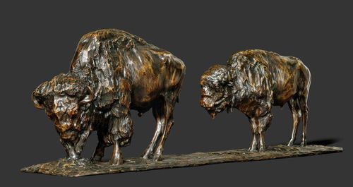 "REMBRANDT BUGATTI (1885-1916) SCULPTURE ""Deux bisons d'Amérique"", 1906 Bronze with brown patina. Two buffalo. Signed R. Bugatti, Anvers 1906. Foundry stamp: Cire perdue, A.A. Hébrard (1). The tail of the larger buffalo professionally restored. Patina probably partly restored. L. 90 cm. H. 31 cm."
