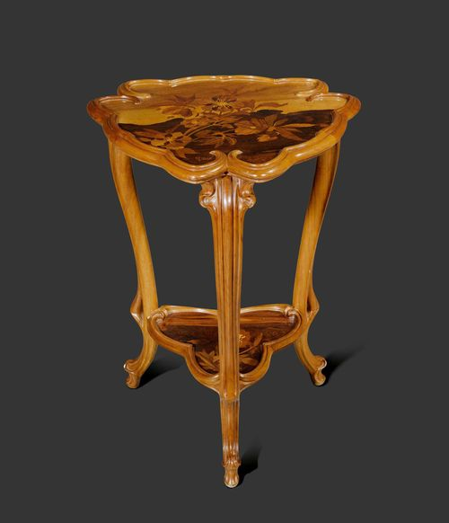 EMILE GALLE SIDE TABLE, circa 1900 Carved walnut, finely inlaid with fruitwoods. Signed Gallé. H. 80 cm. D. 60 cm.