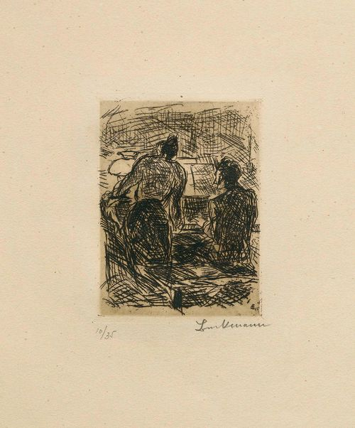 BECKMANN, MAX (Leipzig 1884 - 1950 New York) Am Klavier. 1913. Etching. 10/35. Signed lower right: Beckmann, also numbered by Günther Franke lower left. Image 11 x 8.5 cm on wove paper 53 x 37.5 cm. Published by Verlag R. Piper & Co., Munich. Catalogue raisonné: Hofmaier, No. 59Bb.