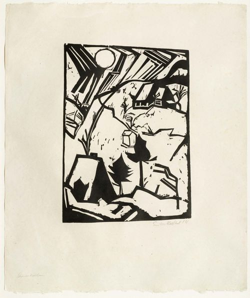 HECKEL, ERICH (Döbeln 1883 - 1970 Radolfzell) Schneetreiben. 1914. Woodcut. Outside edition of 40. Signed and dated lower right: Erich Heckel 14, also entitled lower left: Schneetreiben. Image 43.5 x 29.7 cm on Japan paper 55.5 x 70 cm. Provenance: - Erker-Galerie, St. Gallen (gallery label verso). - Private collection Switzerland. Catalogue raisonné: Dube, No. H278, IA.