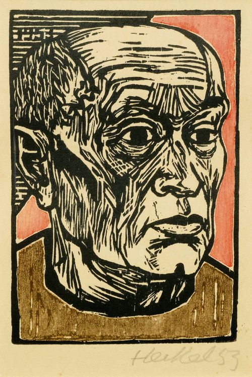 HECKEL, ERICH (Döbeln 1883 - 1970 Radolfzell) Kopf. 1953. Colour woodcut. Signed and dated lower right: Heckel 53, dated top in block: 1953. Image 19.3 x 12.6 cm on wove paper 26.3 x 23.7 cm. Catalogue raisonné: Dube, No. H405.