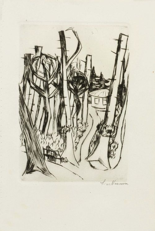 BECKMANN, MAX (Leipzig 1884 - 1950 New York) Park Louisa. 1923. Etching. From an unnumbered edition of 50. Signed lower right: Beckmann. Image 17 x 11.7 cm on van Gelder wove paper (with watermark) 24.5 x 16.4 cm. Published by Verlag R. Piper & Co. Perforated along the left edge. Catalogue raisonné: Hofmaier, No. 300B.