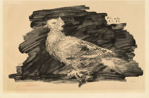 PICASSO, PABLO (Málaga 1881 - 1973 Mougins) Pigeon au fond gris. 1947. Lithograph. 2/50. Signed lower left: Picasso, also dated upper right in stone: Dimanche 2.2.47. Image 27 x 45 cm on thick wove paper 33 x 50 cm. Slightly browed. Catalogue raisonné: Bloch, No. 418.