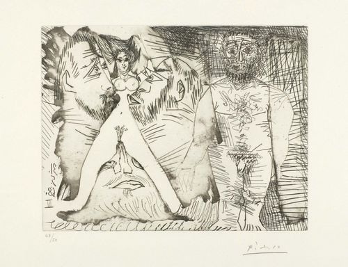 "PICASSO, PABLO (Málaga 1881 - 1973 Mougins) Du mode d'emploi d'une jeune femme. 1968. Etching and drypoint. 48/50. Signed lower right: Picasso, also date in reverse in stone: 31.5.68 III. Image 19.8 x 25.5 cm on Rives wove paper 33 x 40 cm. Published by Edition galerie Louise Leiris, Paris. Printed by Crommelynck. From the Album ""347 gravures"". Catalogue raisonné: - Bloch, No. 1613. - Baer, No. 1629, III. state."