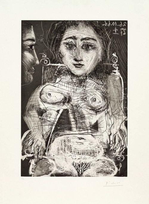 PICASSO, PABLO (Málaga 1881 - 1973 Mougins) Femme assise dans un fauteuil. 1966. Etching, drypoint and aquatint. 15/50. Signed lower right: Picasso, also dated in reverse upper right in stone: 26/27.10.66 4. Image 47 x 32 cm on wove paper 63 x 45,5 cm. Published by Edition galerie Louise Leiris. Printed by Crommelynck. Catalogue raisonné: - Bloch, No. 1394. - Baer, No. 1416, 2nd state Ba.
