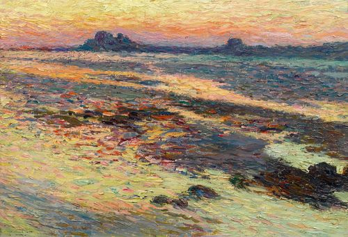 MARTIN, HENRI (Toulouse 1860 - 1943 Labastide-du-Vert) Rochers sur la mer. Oil on panel. On the lower left dedicated and with the monogram:  a mon ami E. C(...)/ hm. 37 x 56.4 cm. The authenticity of the work was confirmed by Cyrille Martin, Neuilly-sur-Seine, 12 November 1987. Provenance: - Habsburg, Feldmann Fine Art Auctioneers, Geneva, 26 June 1988, Lot 31026. - Privately owned, Zürich (acquired at the auction above).