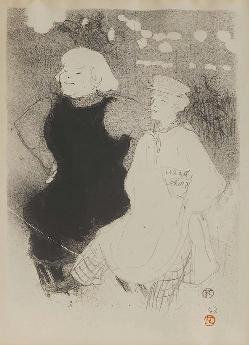 TOULOUSE-LAUTREC, HENRI DE (Albi 1864 - 1901 Malromé/Gironde) Au Moulin Rouge: L'union franco-russe. 1893. Lithograph. 47/100. Monogram in ligature lower right in stone: HTL, also with red monogram stamp. Image 33.3 x 24.8 cm on smooth wove paper 37.8 x 28 cm. Published by L'Escarmouche. Printed by Ancourt. Catalogue raisonné: - Wittrock, No. 40. - Adriani, No. 55.