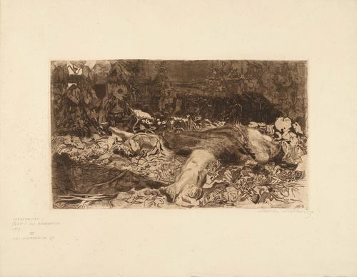 "KOLLWITZ, KÄTHE (Königsberg 1867 - 1945 Moritzburg b. Dresden) Vergewaltigung. 1907/08. Line-etching, drypoint, vernis mou. From an edition of 200. Signed lower right: Käthe Kollwitz, also with engraved year lower right of sheet: 1921. Lower left with title and description of the work. Image 30.5 x 52.5 cm on wove paper 56 x 72.5 cm. Published by Richter. Sheet 2 from the 7-part series ""Bauernkrieg"". Catalogue raisonné: Von dem Knesebeck, No. 101, VIb."
