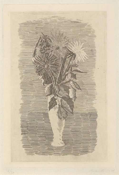 MORANDI, GIORGIO (1890 Bologna 1964) Fiori in un vasetto bianco. 1928. Etching with greyish tone. 24/30. Signed and dated lower right: Morandi 1928, also dated on right hand edge of stone: 1917. Image 24.6 x 16.3 cm on wove paper 38.4 x 28 cm. Mirrored image of painting from 1917. Provenance: - Galerie Albert Loeb and Krugier, New York (gallery label verso). - Private collection Italy. Catalogue raisonné: Vitali, No. 51, 2nd state.