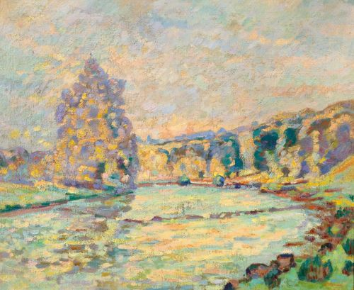 GUILLAUMIN, ARMAND (1841 Paris 1927) La Creuse à Genetin. Ca. 1905. Oil on canvas. Signed lower right: Guillaumin. 61.5 x 72 cm. Provenance: - Collection of J.P. Wick, Paris. - Sotheby's London, 4 February 2010, Lot 211. - Private collection, Germany, acquired at the auction above. Literature: Serret, G./Fabiani, D.: Armand Guillaumin 1841 - 1927. Catalogue raisonné de l'oeuvre peint, Paris 1971, cat. no. 645 (with ill.).