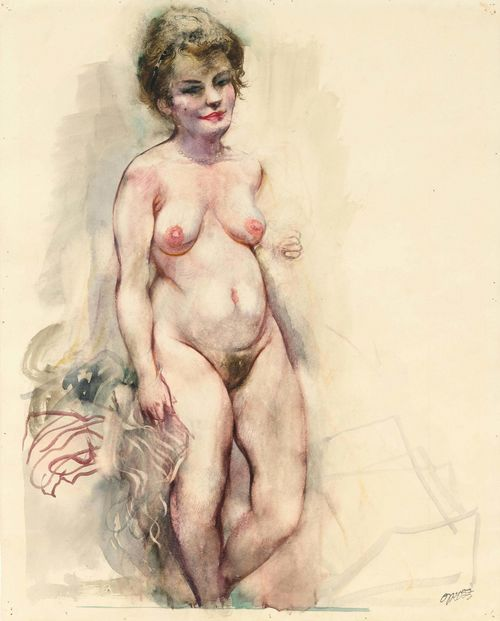 "GROSZ, GEORGE (1893 Berlin 1959) Nude, Eva. 1930s. Watercolour on paper. Signed lower right with the artist's stamp. Verso with the estate stamp ""George Grosz Estate"", the numbering ""1-73-8"", and the handwritten number 762. 50 x 39 cm. The authenticity of the work was confirmed by Dr. Ralph Jentsch, Rome, 20 April 2015. The work is included in the forthcoming catalogue raisonné. Provenance: - Studio of the artist, Douglaston, Long Island, 1942. - Estate of George Grosz, 1959. - Richard A. Cohn, New York. - Tom and Pamela LaPierre, Toronto, Canada. - Barridorff Galleries, Portland. - Private collection. - European collection."