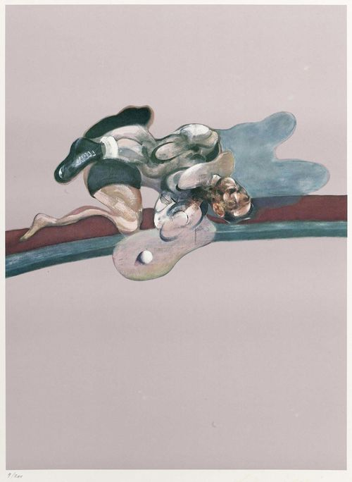 BACON, FRANCIS (Dublin 1909 - 1992 London) In memory of George Dyer. 1975. Offset-Lithograph  9/200. Barely legible signature lower right: Francis Bacon. Image 75.5 x 55.5 cm on art paper 85.5 x 61 cm. Pub by Marlborough Graphics.