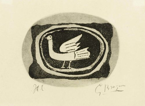 BRAQUE, GEORGES (Argenteuil 1882 - 1963 Paris) Oiseau III. 1950. Zincograph H.C. Etching in black. One of few signed and unnumbered impressions. Signed lower right: GBraque. Image 13.2 x 17.3 cm on wove paper with watermark (rooster) 19 x 26.5 cm. Published by Maeght Editeur, Paris.
