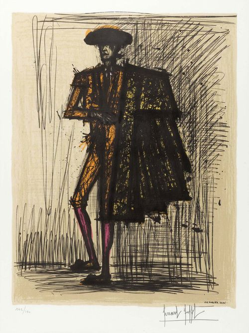 BUFFET, BERNARD (Paris 1928 - 1999 Tourtour) Torero. Probably  1981. Lithograph  142/180. Signed lower right: Bernard Buffet. Inscribed in stone: CH. Sorlier Grav. Image 66 x 50 cm on wove paper 75.5 x 56 cm. Framed. Fine condition.