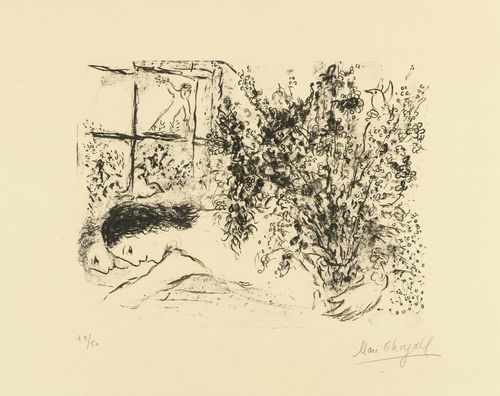 CHAGALL, MARC (Vitebsk 1887 - 1985 Saint-Paul-de-Vence) Près de la fenêtre. 1971. Lithograph  19/50. Signed lower right: Marc Chagall. Image on Arches paper. 65 x 51.1 cm. The paper somewhat browned, otherwise fine condition. Framed. Catalogue raisonné: Chagall Lithographe, vol IV, No.624.